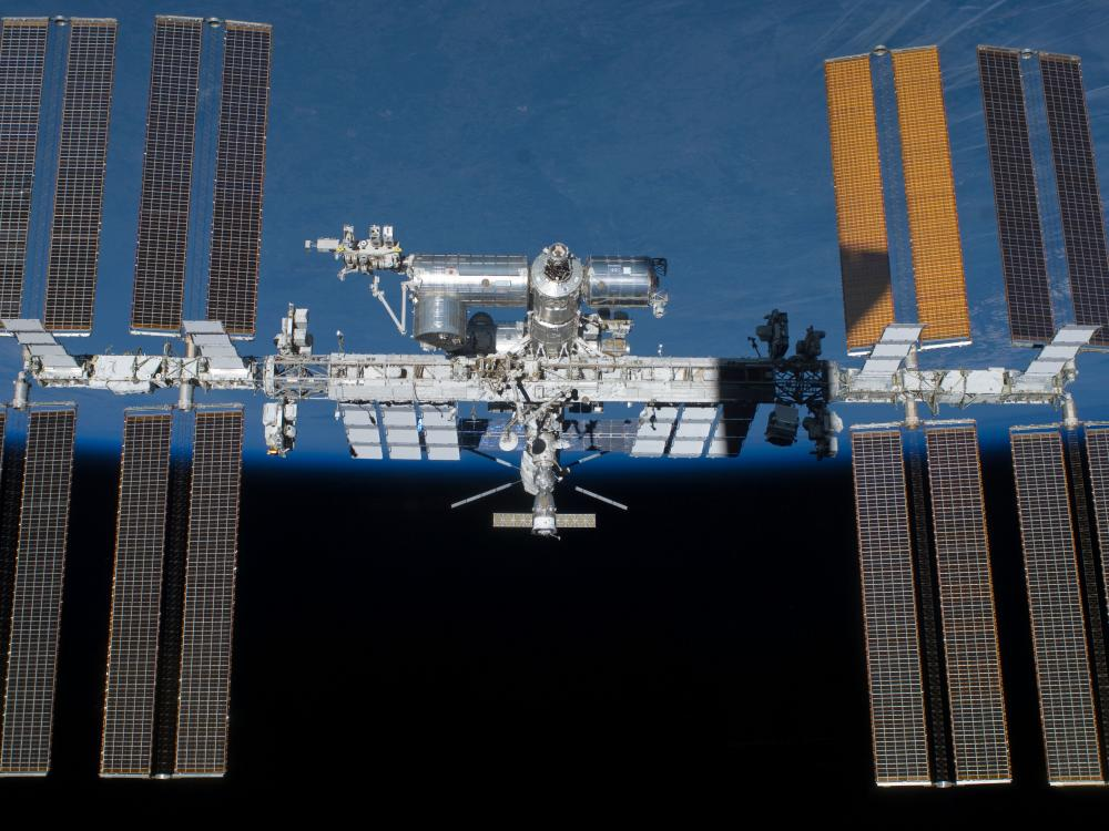 ISS with the Earth behind it.