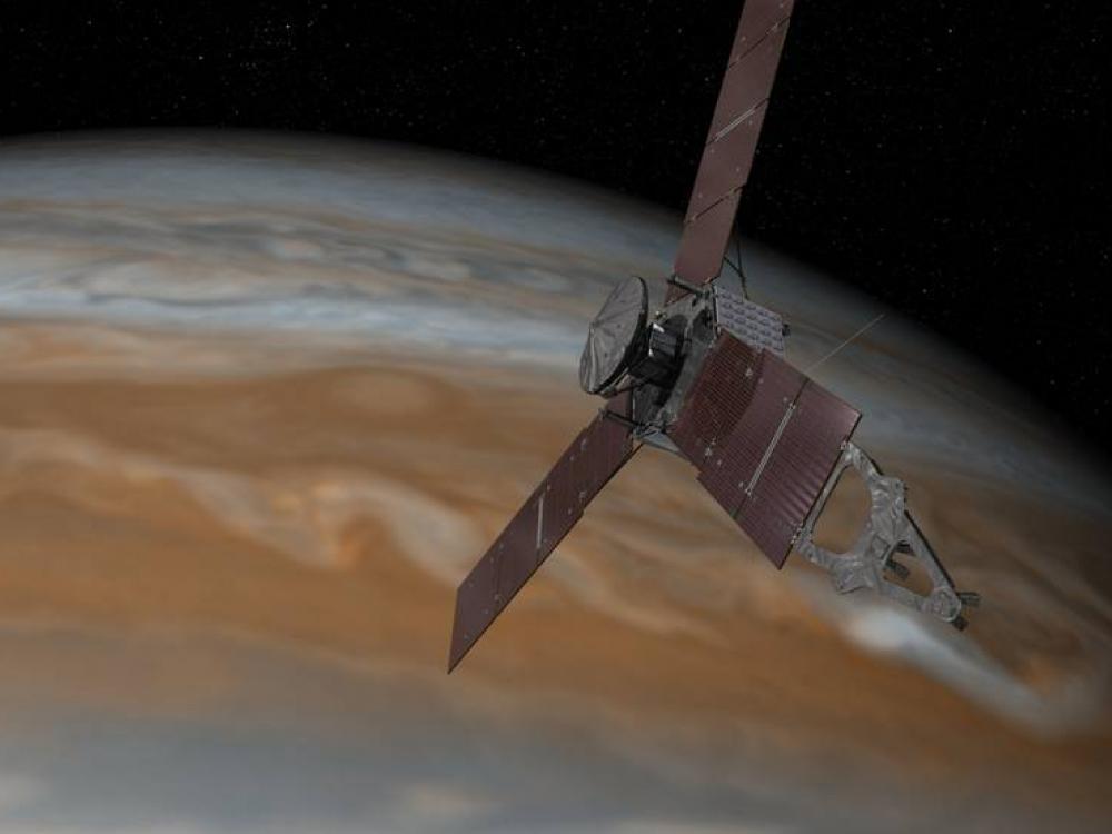 An artist's rendering showing Juno spacecraft