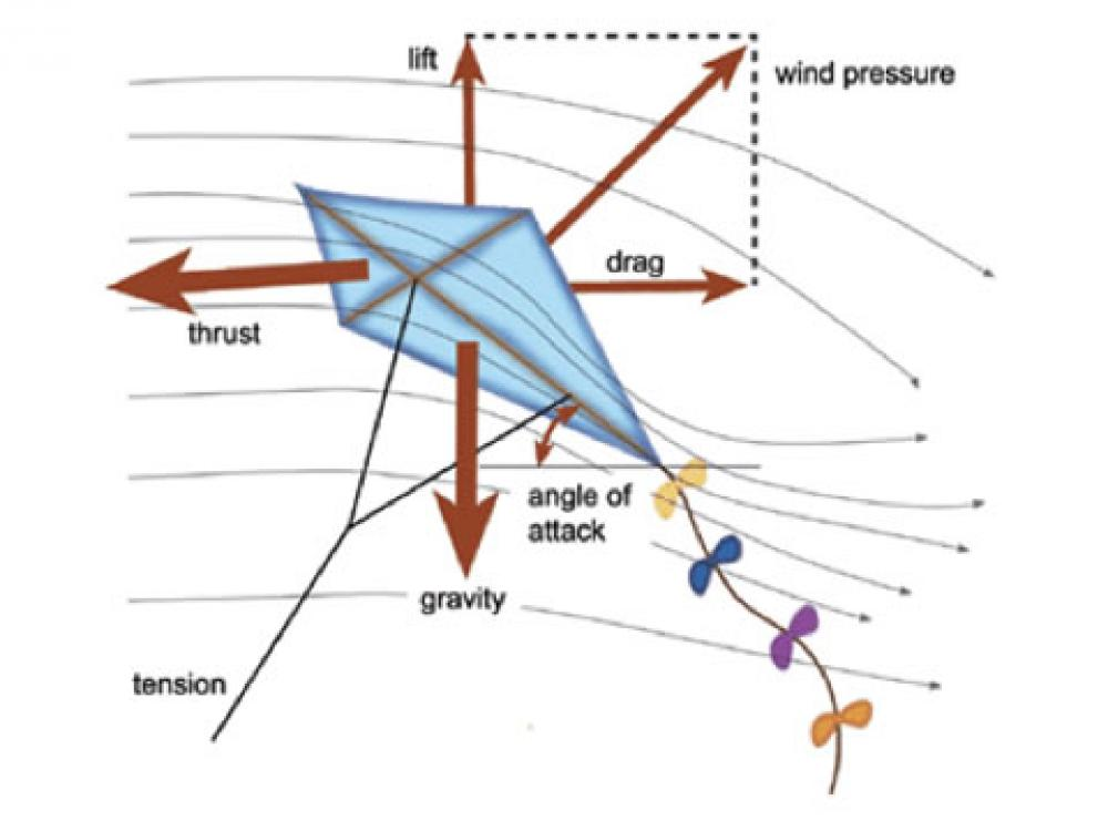 A diagram showing how a kite flies.