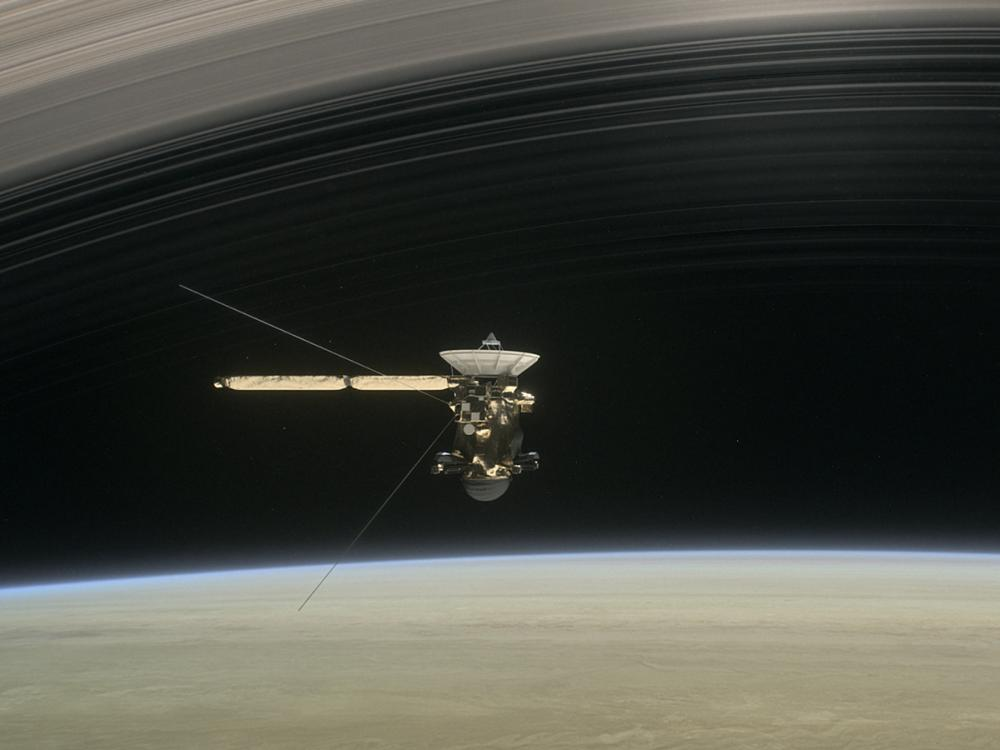 Illustration of Cassini crossing the rings of Saturn