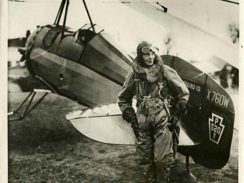 Amelia Earhart in Front of her Autogiro