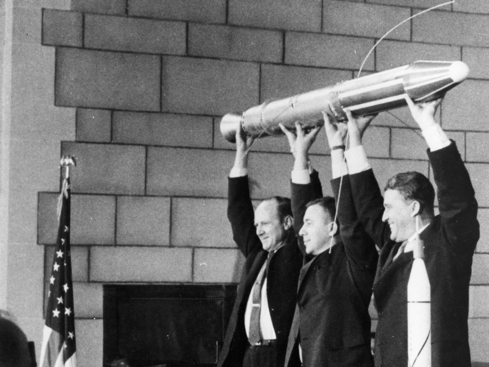 Dr. William H. Pickering, Dr. James A. van Allen, and Dr. Wernher von Braun Holding the Explorer 1 Satellite
