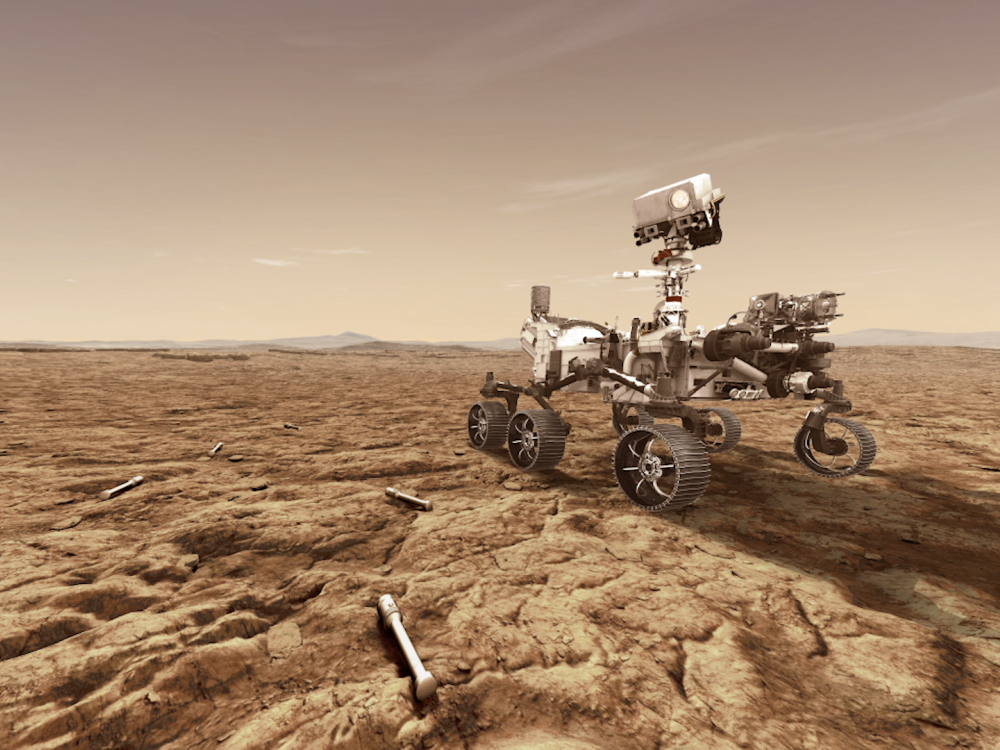 rendering of Mars 2020 rover on surface of Mars