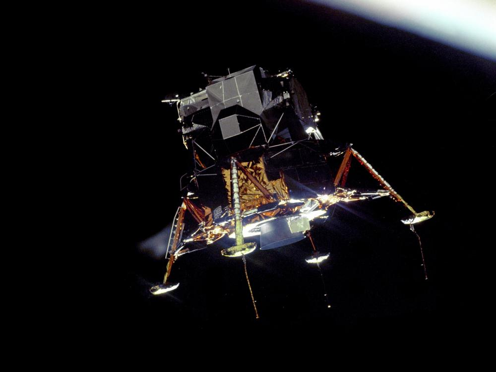The Apollo 11 Lunar Module Eagle, in a landing configuration