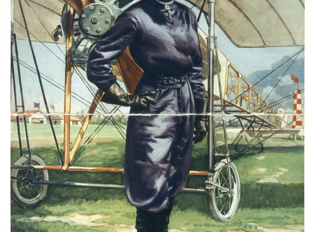 Color post of Harriet Quimby in purple flight suit, posing in front of airplane.