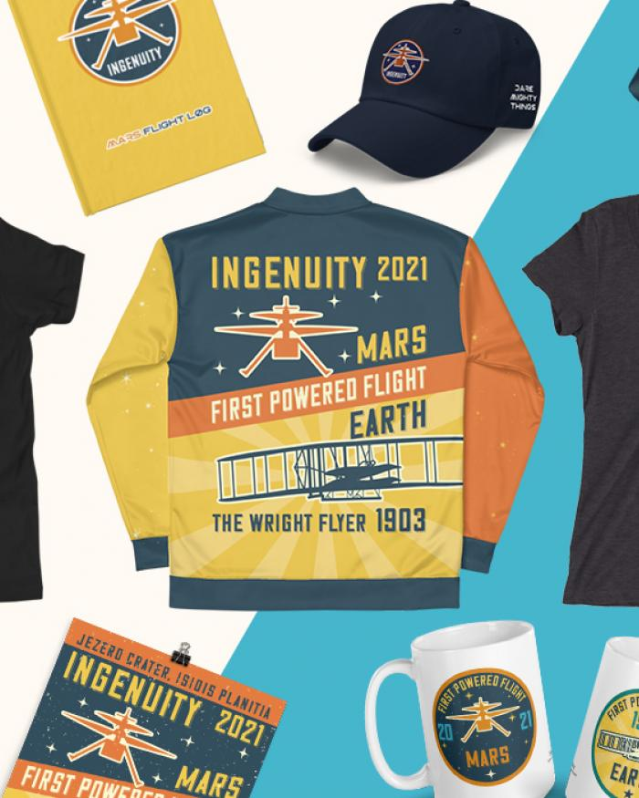 A promotional image featuring mugs, hats, tees, and totes with Ingenuity design on it.