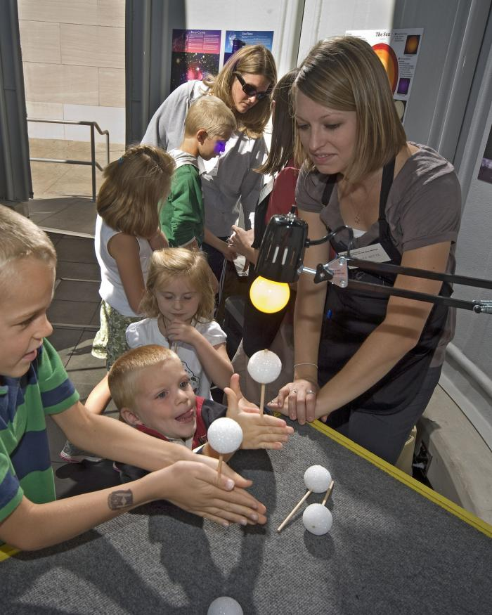 Astronomy Educators With Young Visitors at the New Public Observatory