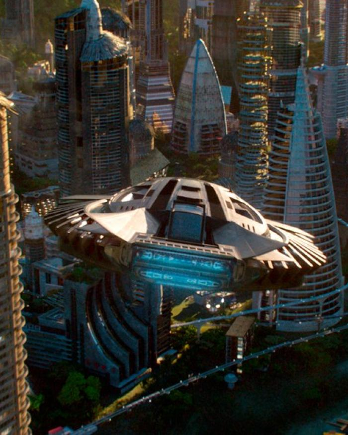 T'Challa's Royal Talon Fighter flying above Wakanda in the film Black Panther.