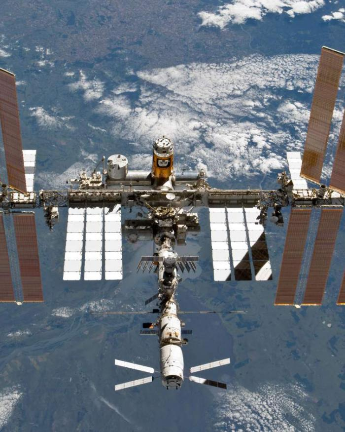 The International Space Station floats above Earth