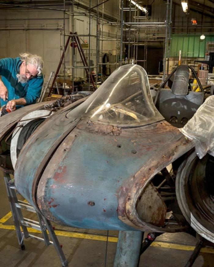 Aircraft Mechanic Works on Horten