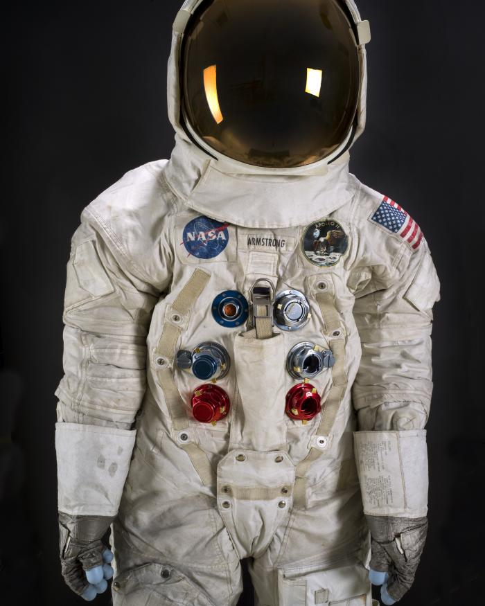 Three-quarter view of Apollo-era spacesuit
