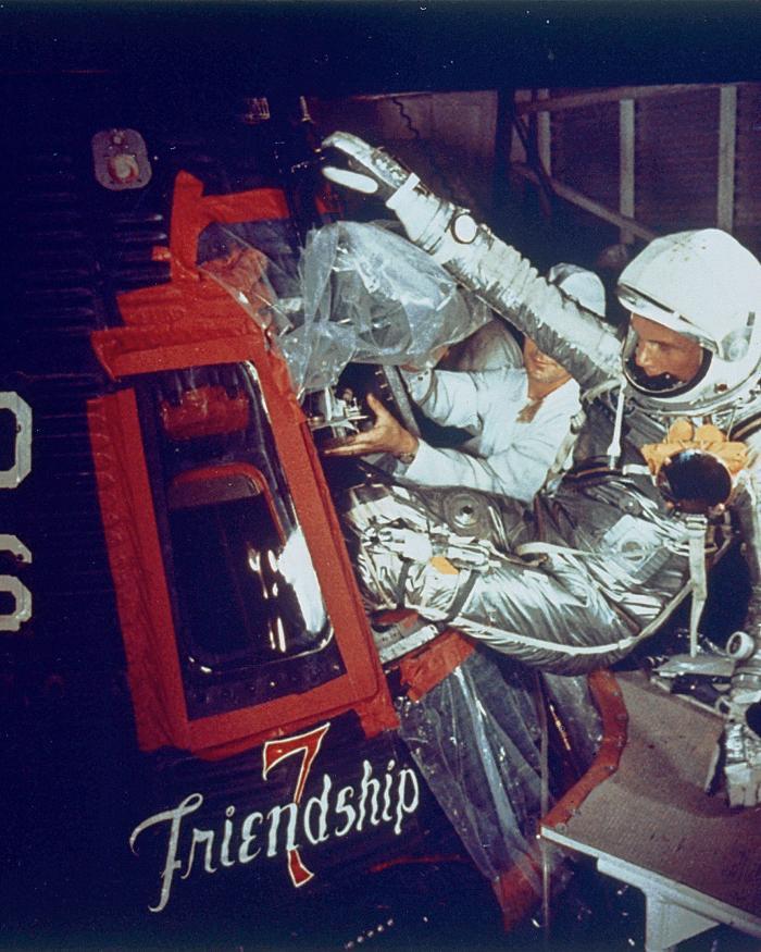 John Glenn Climbing into the Mercury Spacecraft