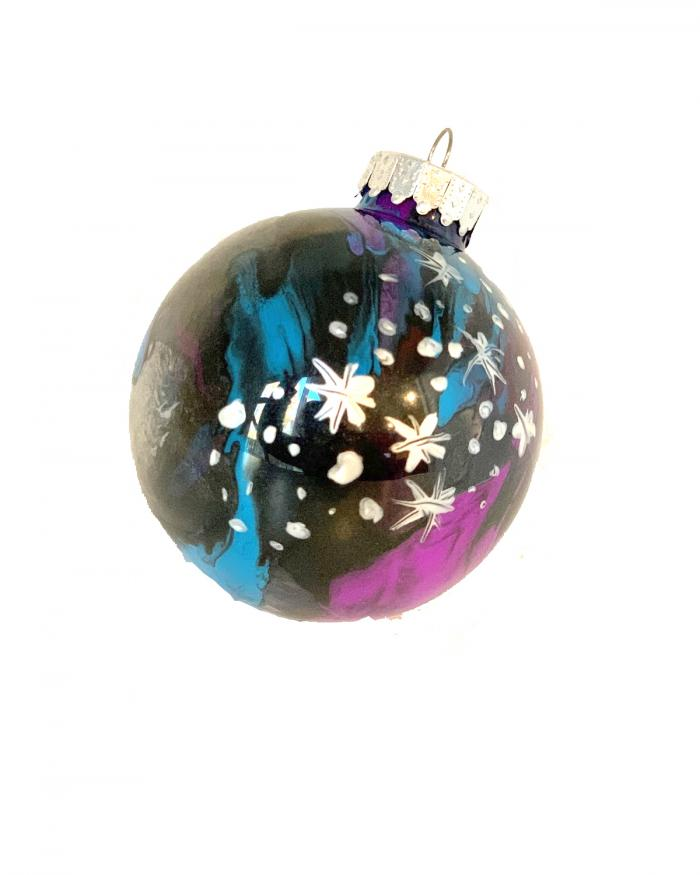 A spherical ornament representing the galaxy.