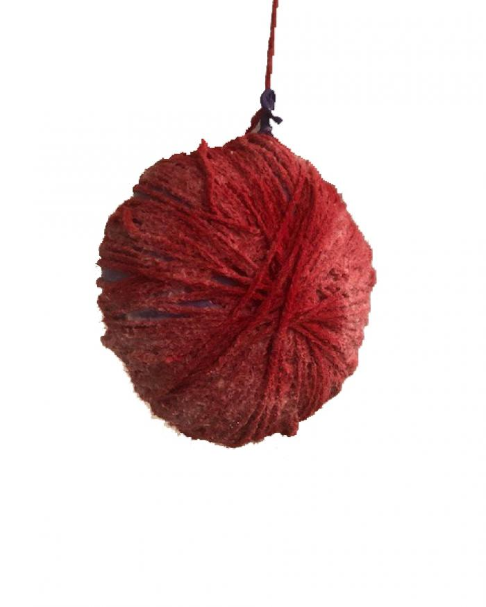 A red sphere made of string
