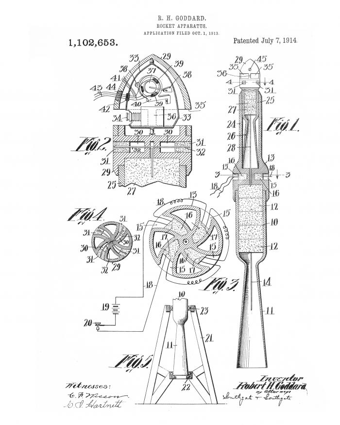 Patent Drawing of a Rocket Designed by Robert H. Goddard