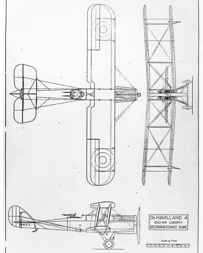 A line drawing of a biplane