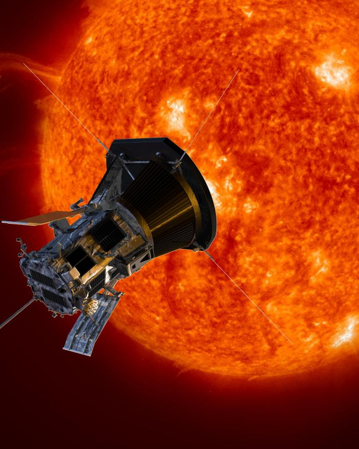 Artist's concept of the Parker Solar Probe spacecraft approaching the Sun.