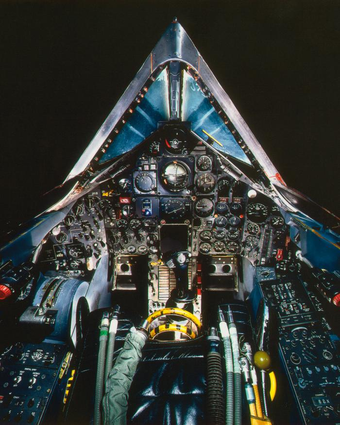 View from inside the cockpit of the Lockheed SR-71A Blackbird