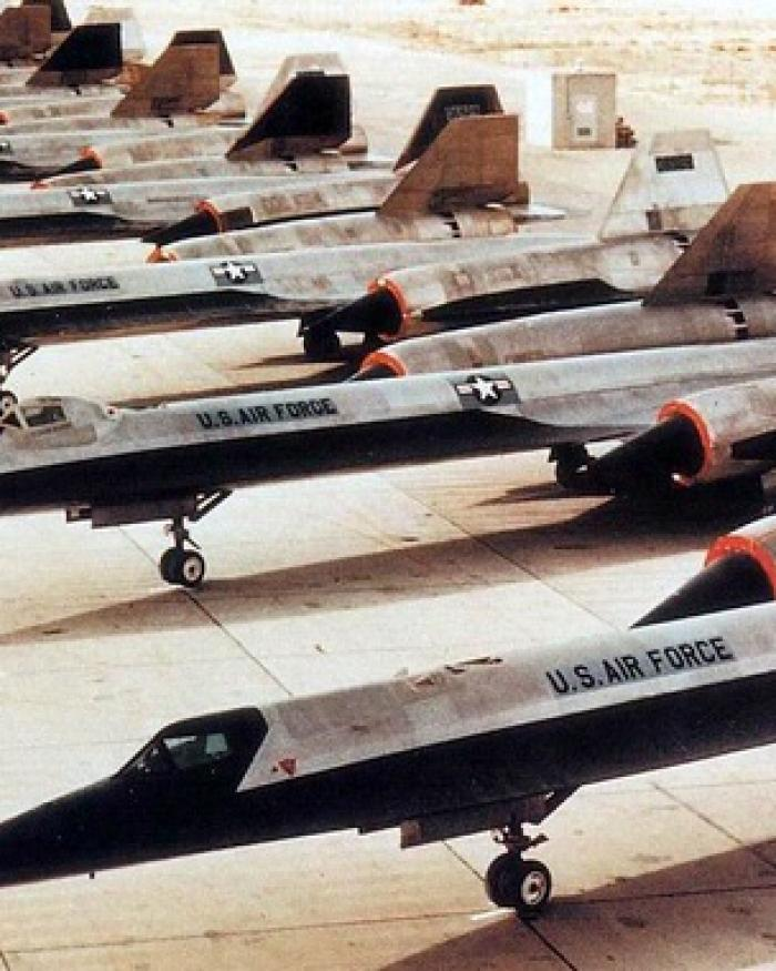 Lockheed A-12 aircraft lined up on tarmac