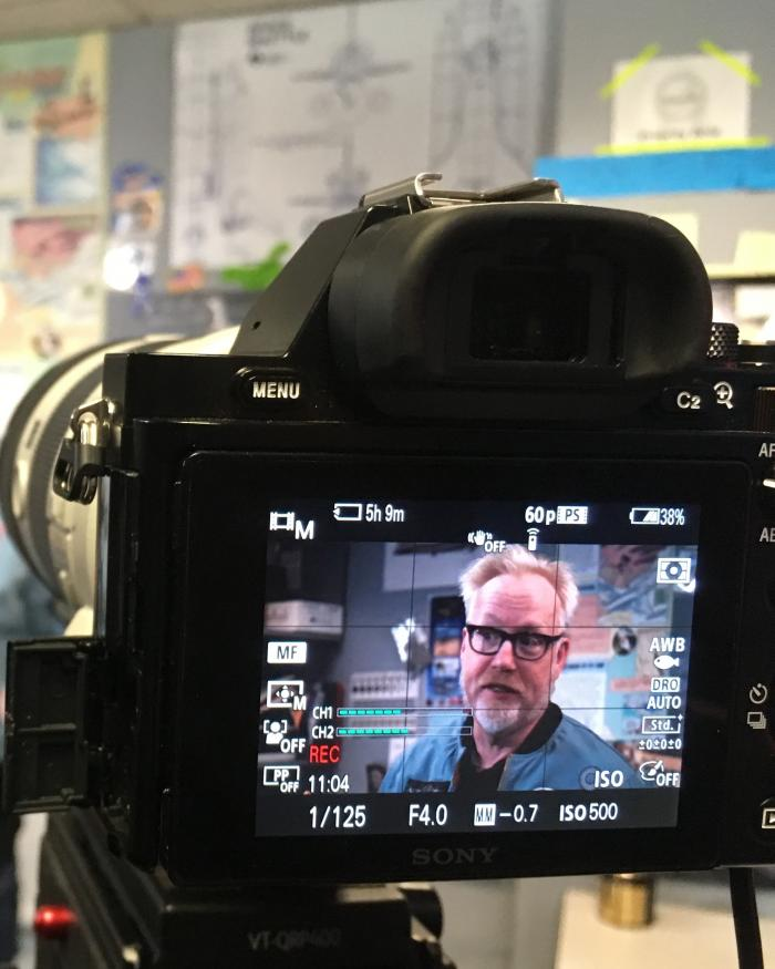 Adam Savage on camera