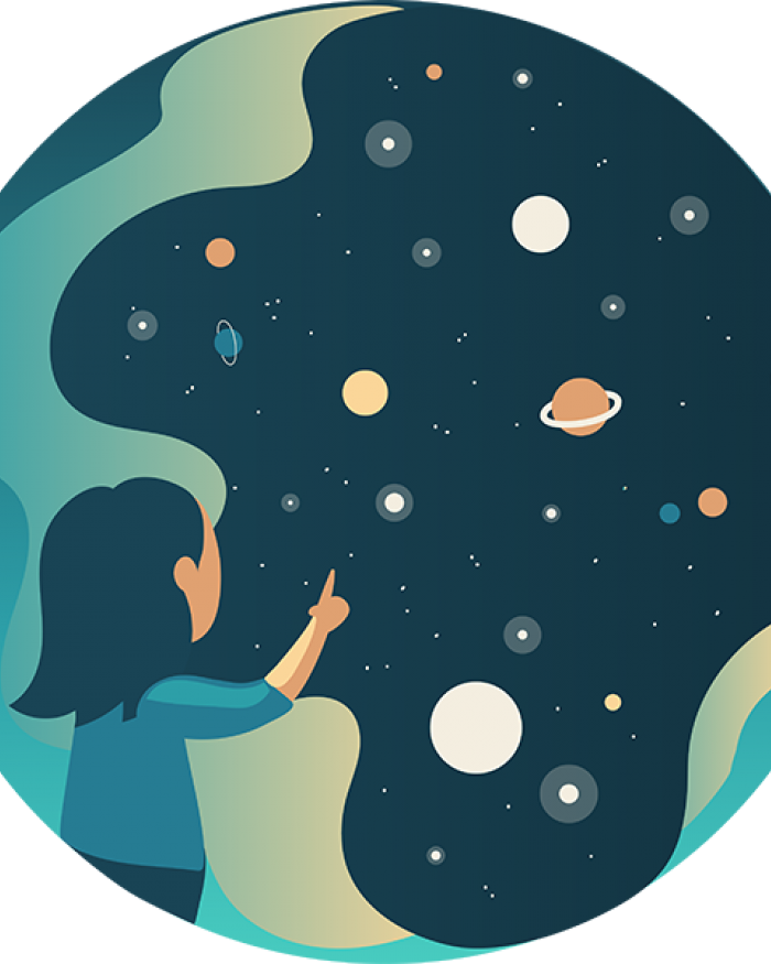 drawing of woman looking at stars