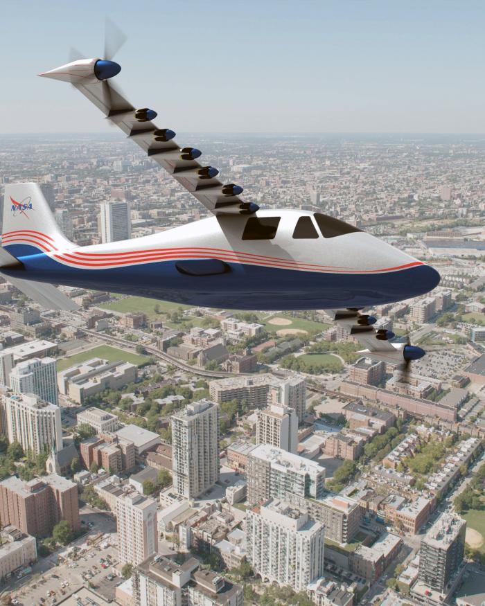 "A concept visualization for NASA's X-57 ""Maxwell"" aircraft."