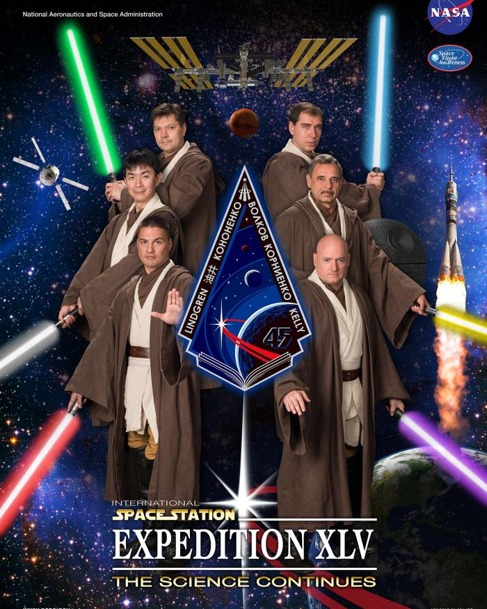 Expedition 45 members donned Jedi robes and hid a Death Star in their official crew poster