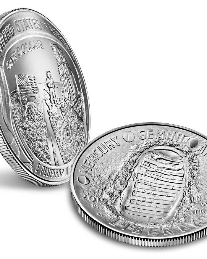 Two views of Apollo 11 Commemorative Coin