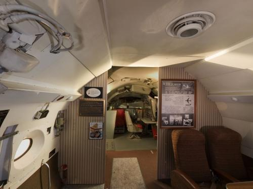 Panoramic photograph of Boeing 367-80 Jet Transport passenger cabin