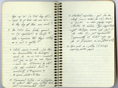 Sally Ride's Rogers Commission Notebook