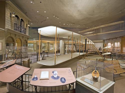 A gallery holding the Wright Flyer.