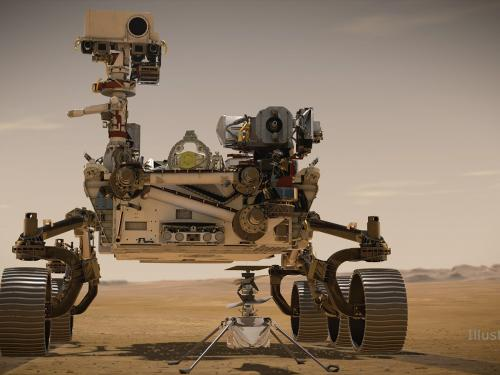 An artists rendering of the Perseverance rover a six wheeled roving vehicle with a neck and camera attached, and a small drone like helicopter which accompanies it.