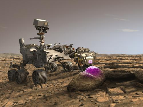 An illustration of Perseverance scanning a rock on Mars