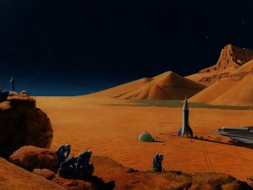 A painting depicting the Martian surface with spacecraft on it.