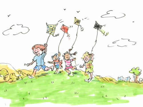 A drawing of children playing with kites.