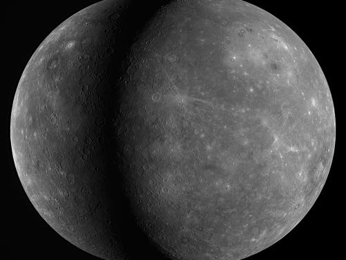 Composite of two flyby views of Mercury