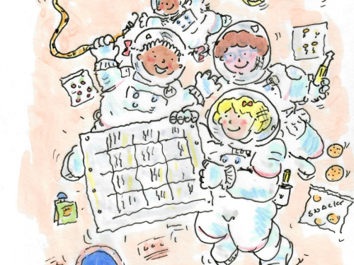 An image of four friends in spacesuits. The image is drawn and in color.