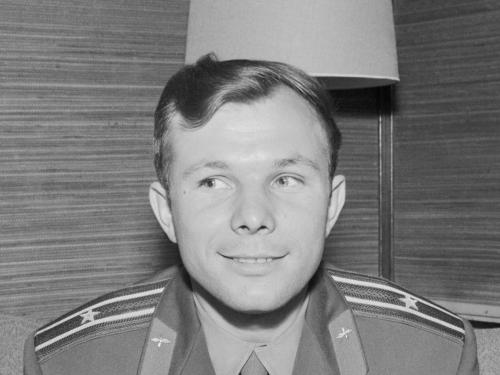 Soviet cosmonaut Yuri Gagarin at a press conference