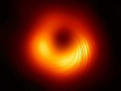 Orange and yellow circle indicating magnetic fields of a black hole