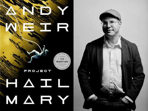 Book cover for Project Hail Mary and Photo of Andy Weir