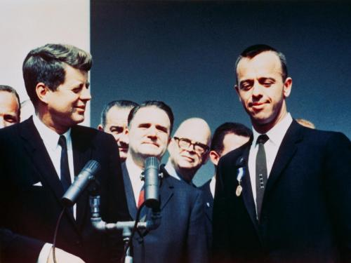 President John F. Kennedy presents award to Alan Shepard