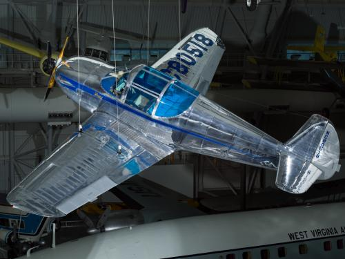 Silver painted plane hanging in the museum.