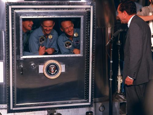 President Nixon Visits Apollo 11 Crew in Quarantine