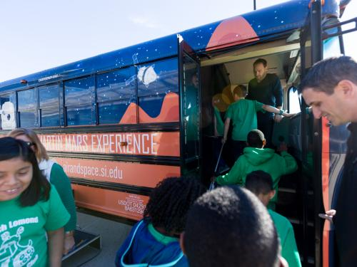 "Students board ""Mars Experience"" bus"