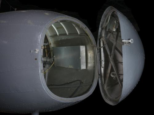 View of an open nose of an airplane.