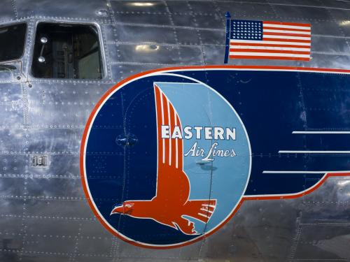 Eastern Air lines logo painted on the fuselage of the plane.