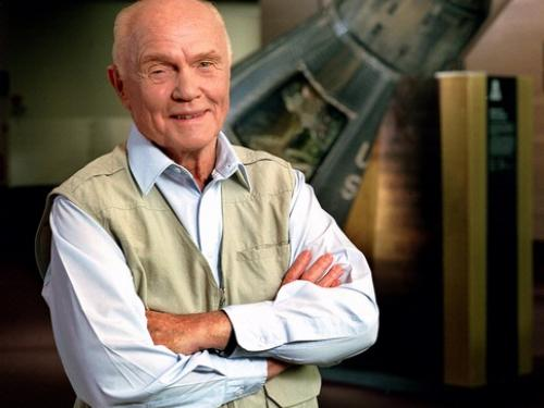 John Glenn with His Mercury Friendship 7 Capsule