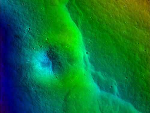 Prominent lobate fault scarp in Vitello Cluster