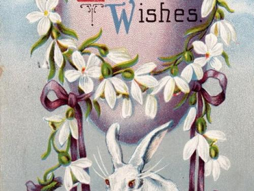 Easter Balloon Bunny Postcard