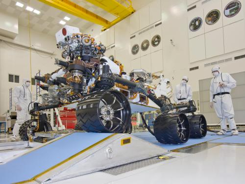 Mars Rover Curiosity during a Mobility Test